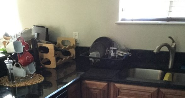 residential water damage - granite after