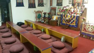 Cleaned cushions at Buddhist temple
