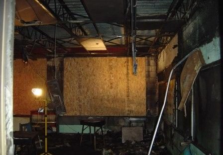 room with fire damage