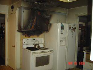 Kitchen with smoke damage