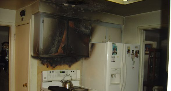 Kitchen with smoke damage