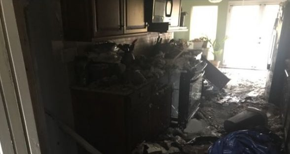 Kitchen After Fire Before Reconstruction