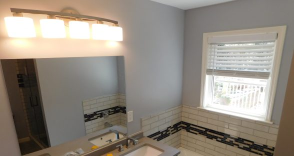 Bathroom after fire after reconstruction