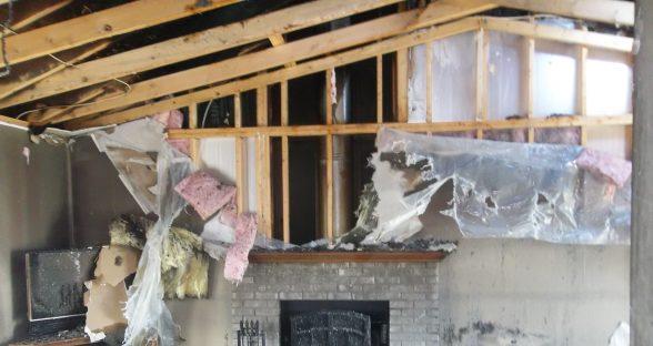 Interior fireplace fire damage