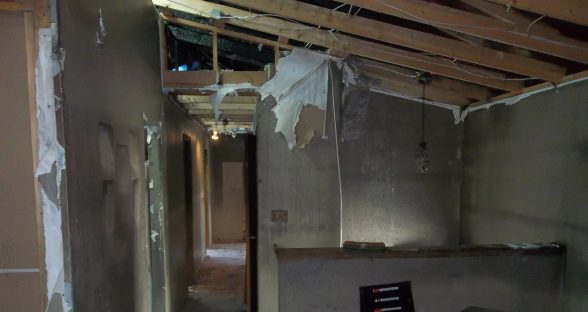 Interior entryway with fire damage