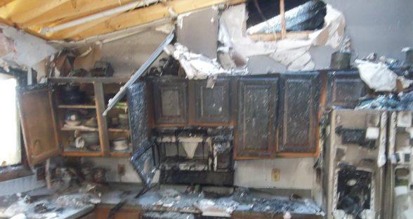 Interior kitchen fire damage