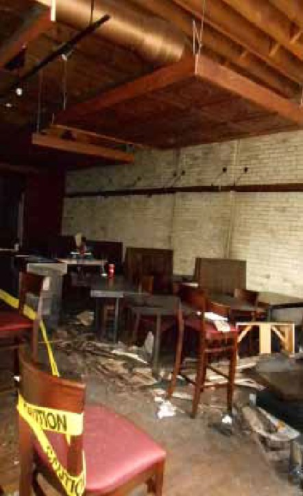 Bourbon & Tunns Tavern Dining Room Fire Damage - Historic Milwaukee Building