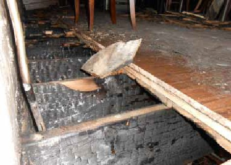 Charred Floor Joists After Fire at Bourbon & Tunns Tavern - Milwaukee, WI